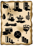 Set of oil crisis. Oil price fall, petroleum spill, oil rig Royalty Free Stock Images