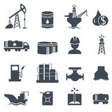 Set of oil and gas grey icons Petroleum industry. Set of oil and gas grey icons on white background. Petroleum industry vector illustration royalty free illustration
