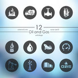 Set of oil and gas icons Stock Photos