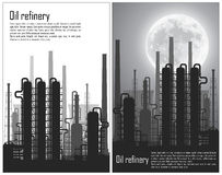 Set of Oil and gas refinery flyers Stock Photos