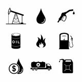 Set of Oil Icons and Signs on white background. Vector Illustration Royalty Free Stock Photo