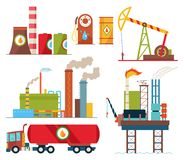 Set of oil industry extraction production and transportation oil and petrol, rig and barrels on flat cartoon icons. Isolated vector illustration stock illustration