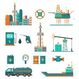 Set of oil industry extraction production and transportation oil. And petrol, rig and barrels on flat cartoon icons. Isolated illustration royalty free illustration