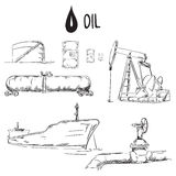 Set of oil industry objects. EPS10 vector illustration Royalty Free Stock Photo