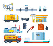 Set of oil industry: plant, equipment for production, transportation, storage. Stock Photos