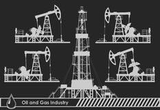 Set of oil pumps and rig silhouettes. Detail vector illustration Stock Photography