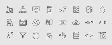 Set of Oil Related Vector Line Icons. Contains such Icons as Fuel Truck, Gas Station, Oil Factory, Transportation and vector illustration