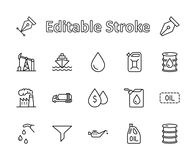 Set of Oil Related Vector Line Icons. Contains such Icons as Fuel Truck, Gas Station, Oil Factory, Transportation and stock images