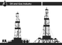 Set of oil rigs silhouettes. Detailed vector illustration  on white background Stock Photo