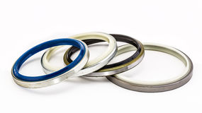 Set of oil seal isolated on white background Royalty Free Stock Photo