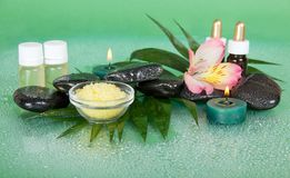 Set of oils, salt, candles, stones and flower Royalty Free Stock Photography