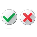 Set of ok and cancel plastic buttons  icons, Royalty Free Stock Image