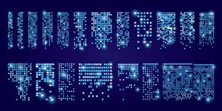 Set okno ikony z racą Budynki i domy miasta świateł Zdjęcia Stock