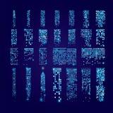 Set okno ikony z racą Budynki i domy miasta świateł Obrazy Stock