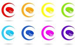 Set okrąg ikony z 3D pasztetową mapą w tęczy barwi royalty ilustracja