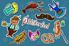 Set of Oktoberfest cartoon stickers. stock illustration