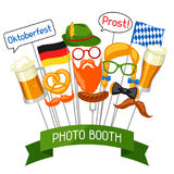 Set of Oktoberfest photo booth props. Accessories for festival and party Stock Images
