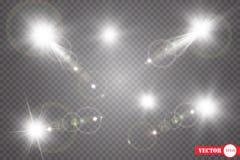 Set Olśniewająca gwiazda słońce cząsteczki i iskry z główna atrakcja skutkiem, złoci bokeh światła połyskujemy i cekiny Na a royalty ilustracja