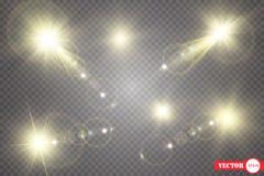Set Olśniewająca gwiazda słońce cząsteczki i iskry z główna atrakcja skutkiem, złoci bokeh światła połyskujemy i cekiny Na a ilustracji