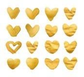 Set olśniewający serca dla ciebie zadziwiający projekta projekt Akwareli tekstury muśnięcia uderzenia odizolowywający na bielu Zdjęcia Stock
