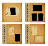 Set of old albums with paper vintage frames Stock Photography