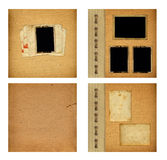 Set of old albums with paper vintage frames. For design Royalty Free Stock Photo