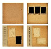 Set of old albums with paper vintage frames Stock Photos