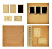 Set of old albums with paper vintage frames. For design Stock Image