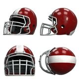 Set of Old American Football Helmets. Red helmet with dirt and scratches. All view. Oldschool Used Sport Equipment. 3D render Illustration isolated on a white Stock Photo