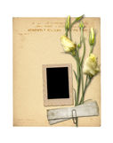 Set of old archival papers and vintage postcard Royalty Free Stock Photography