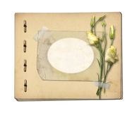 Set of old archival papers and vintage postcard with bouquet Royalty Free Stock Images