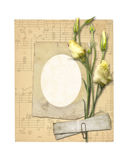 Set of old archival papers and vintage postcard with bouquet Stock Images