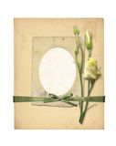 Set of old archival papers and vintage postcard with bouquet Stock Photos