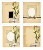 Set of old archival papers and vintage postcard with bouquet. Of beautiful roses isolated on white background Stock Photos