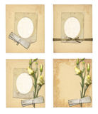 Set of old archival papers and vintage postcard with bouquet. Of beautiful roses isolated on white background Royalty Free Stock Photos