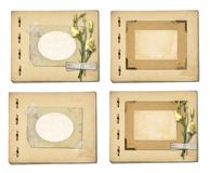 Set of old archival papers and vintage postcard with bouquet. Of beautiful roses  on white background Stock Images