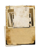 Set of old archival papers and vintage postcard isolated. On white background Stock Photo