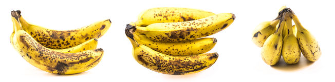 Set of old bananas on a white background Royalty Free Stock Photo