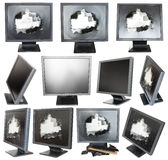 Set of old black LCD monitors with broken screens. Isolated on white background Stock Photography