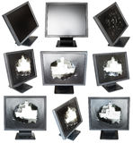 Set of old black LCD monitors with damaged screens. Isolated on white background Stock Photo