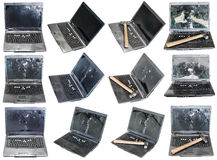 Set from old broken laptops isolated on white. Background Royalty Free Stock Images