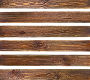 Set of old brown grunge wood planks. Wooden wall, isolated on white background stock images