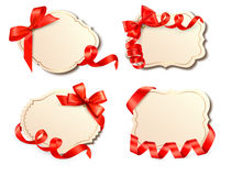 Set of old cards with red gift bows with ribbons Royalty Free Stock Photography
