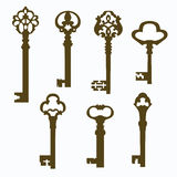 Set old carved door keys Royalty Free Stock Images