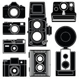 Set of old classic camera silhouette on white background  Stock Images