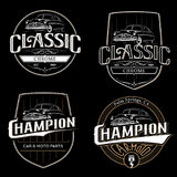 Set of old classic car typography emblems. Set of old classic car typography emblems, badges and logo on black background Stock Image