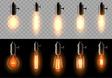 A set of old, classic, retro incandescent bulbs of different shapes. On a transparent and black background. Suitable for a cafe, bar, restaurant. Creates a royalty free illustration