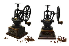 Set with old coffee-grinder Royalty Free Stock Image