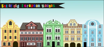 Set of old colourful European houses Royalty Free Stock Photos