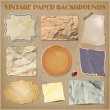 Set of old crumpled paper backgrounds Stock Images
